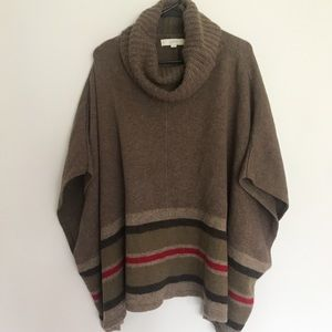 Loft Brown Oversized Turtleneck Poncho